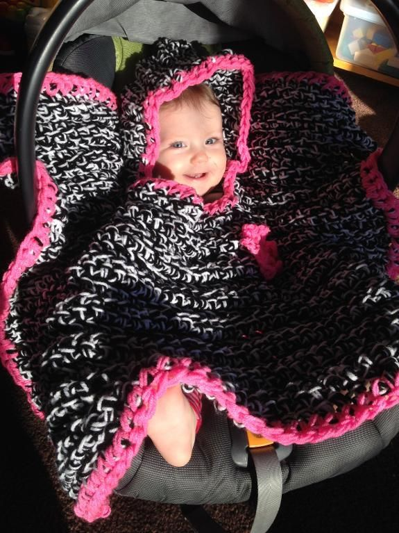 Crocheting Car Seat Baby Blanket Poncho Hood Knitted Stuff Inspiration Car Seat Poncho Pattern