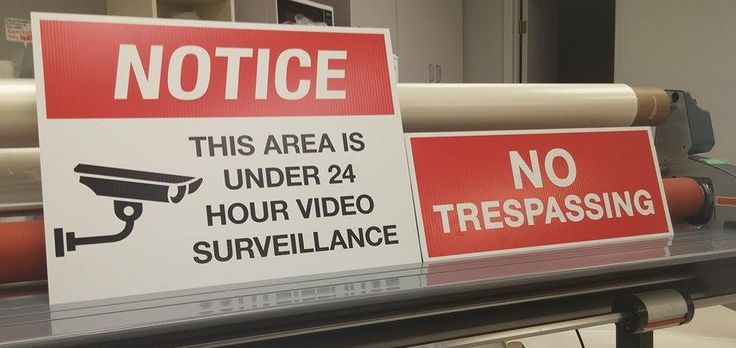 """Minimize the risk to your business or property with outdoor security signs, such as this """"Under Surveillance"""" and """"No Trespassing"""" signage. #Mississauga #Etobicoke #outdoorsigns #securitysigns"""