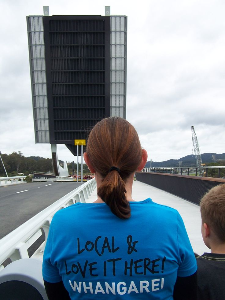 """Te Matau a Pohe Whangarei lifting Brige over Hatea river opened today 27th July 2013 , on my birthday; """"Whangarei Love it Here""""  photo by Jackie Stoddard , if you wish to use it please put a credit to my name to it."""