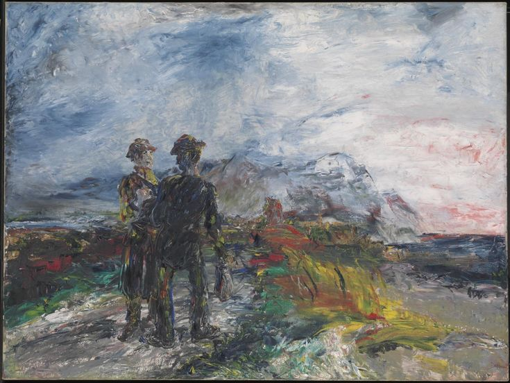 Jack Butler Yeats - The Two Travellers, 1942, oil on wood