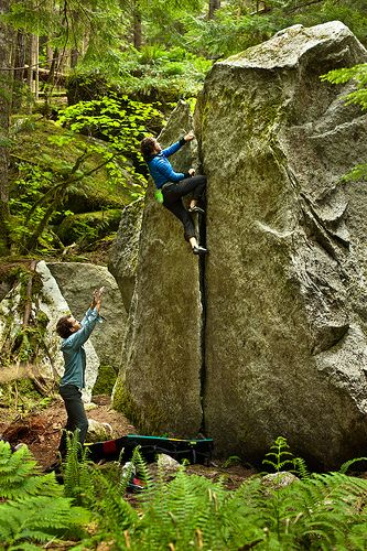 bouldering. Now that's an idea I can get behind. rock climbing that won't kill me if I fall!