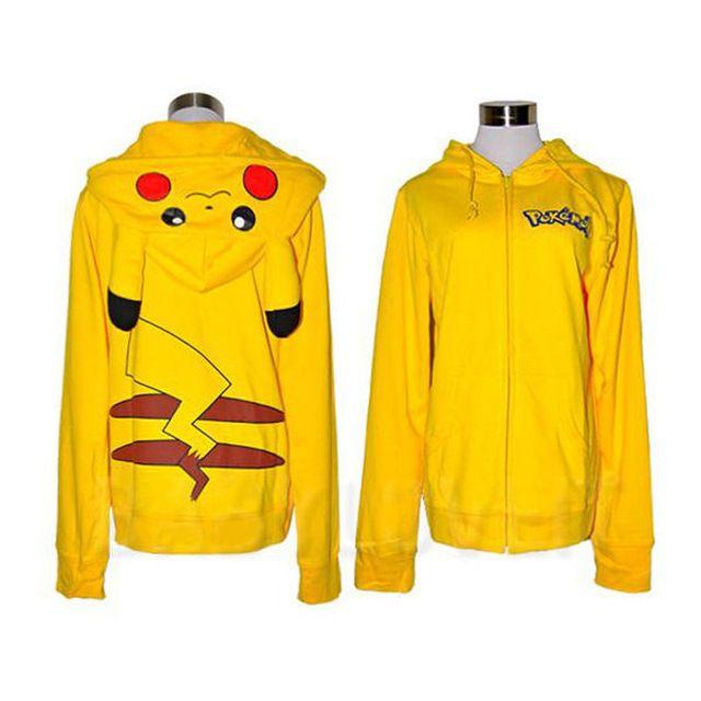 Nuevo Pikachu Pokemon Cara Tail chaqueta Con Capucha Sudadera Con Capucha Traje de Las Mujeres Con Capucha Sudaderas con Capucha con orejas de Talla grande Capa de la Chaqueta