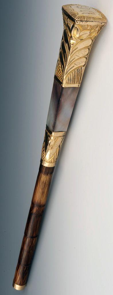 Poignée d'Ombrelle - Abalone et Bambou - Epoque Victorienne