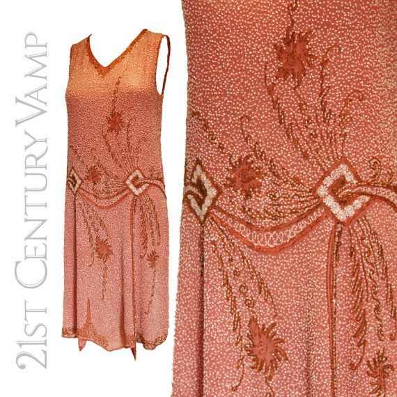 1920s Flapper Dress. Original Vintage Pink, Gold and White Beaded Dance Dress. Probably Made In France. Excellent Condition.