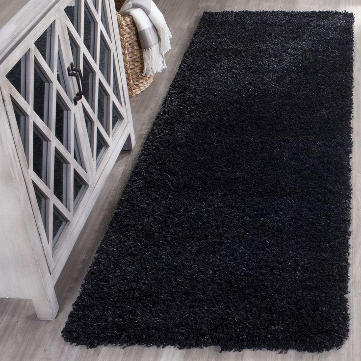 Safavieh California Cozy Solid Black Shag Rug (2' 3 x 5') (SG151-9090-25), Size 2' x 5'