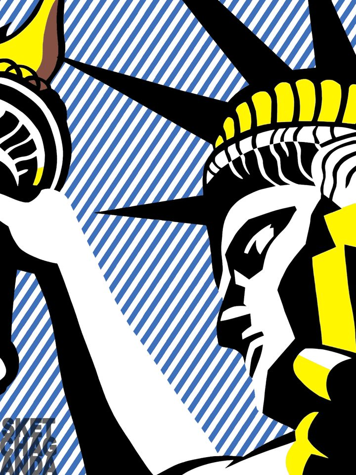 Lichtenstein's I Love Liberty gif by Sketchaganda Roy Lichtenstein  Pop art