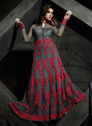 Blissful Grey And Red Embroidery Work Net Designer  Pakistani Suit http://www.angelnx.com/Salwar-Kameez/Pakistani-Suits