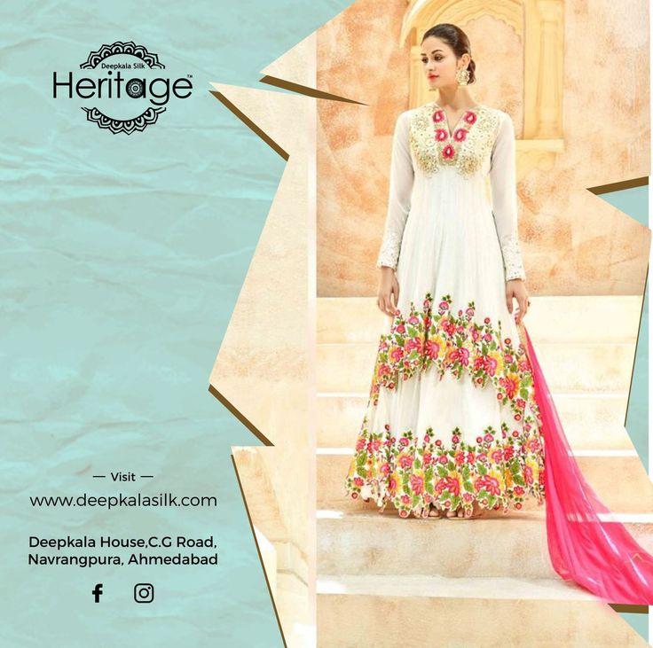 Designs with a sense of Serenity  Explore the collection of designer Ethnic wear only at Deepkala Silk Heritage   https://www.deepkalasilk.com/white-net-floor-length-suit.html #Cotton #Beauty #boldness #deepkala #silk #heritage #deepkalasilkheritage #TraditionalWear #Anarkali #AnarkaliSuits #SalwarKameez #BeSpoke #SalwarSuits #Lehenga