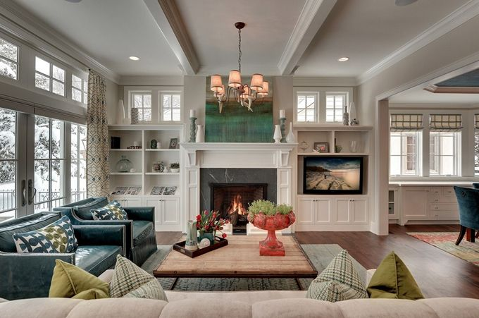 Love the teal green and gray taupe living room - Does a living room need a fireplace ...