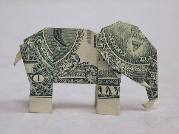 Origami elephant from $1 bill    Google Image Result for upload.wikimedia….