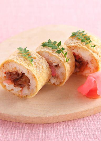 牛肉とがりしょうがのいなり巻き寿司 のレシピ・作り方 │ABCクッキングスタジオのレシピ | 料理教室・スクールならABCクッキングスタジオ