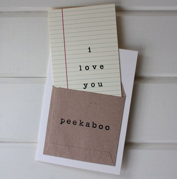 Peekaboo I Love You Pocket Library Card by aruricards on Etsy