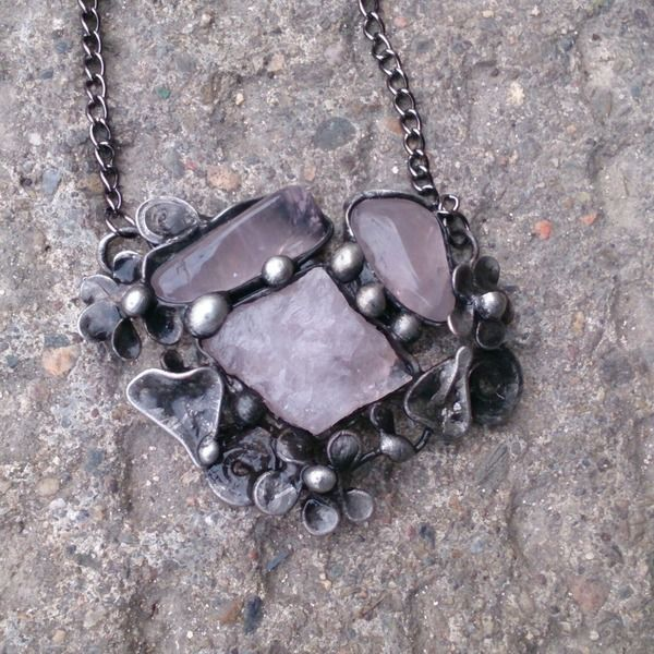 Metal necklace with Gemstone rose quartz, beads from Helenamode by DaWanda.com