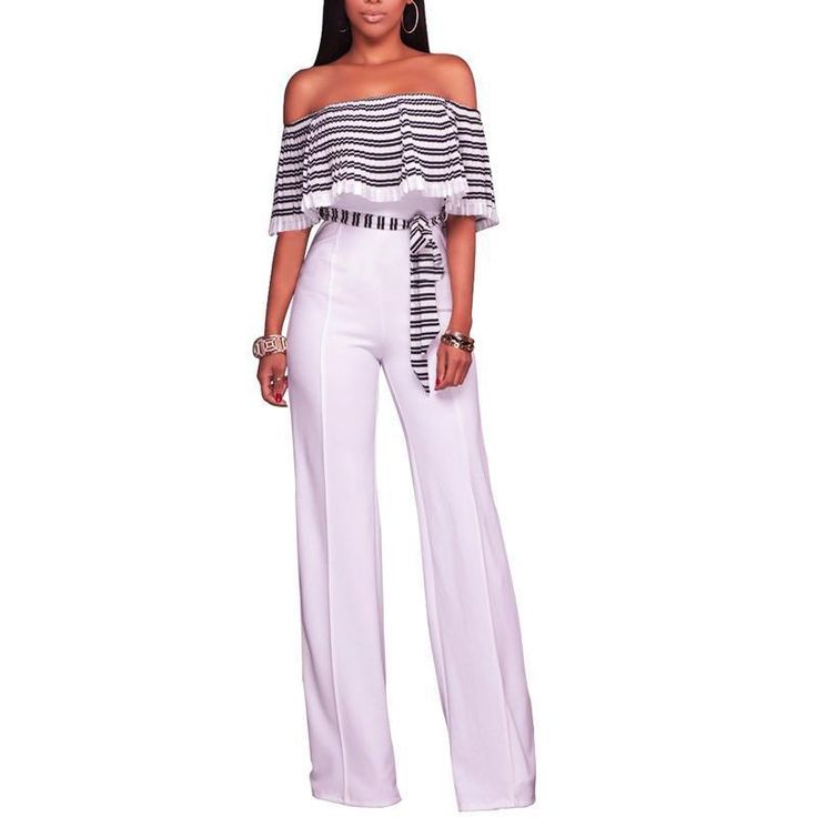 Wide Leg Elegant Jumpsuits Romper 2017 Women Ruffle Off Shoulder High Waist With Belted Overalls Summer Long Jumpsuits Femme