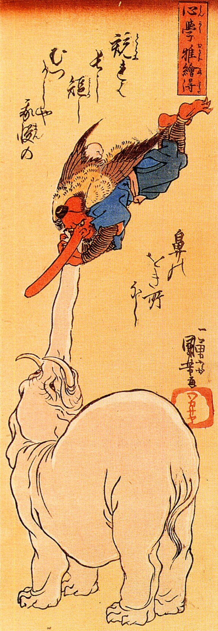 Elephant catching a flying Tengu, ca.1800s by Utagawa Kuniyoshi, Japan