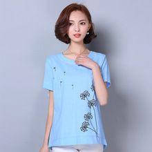 Moda donna di grandi dimensioni camicette camicie 2016 parti superiori di estate della stampa del bicchierino-manicotto di lino bianco camicetta casual camicia allentata donne(China (Mainland))