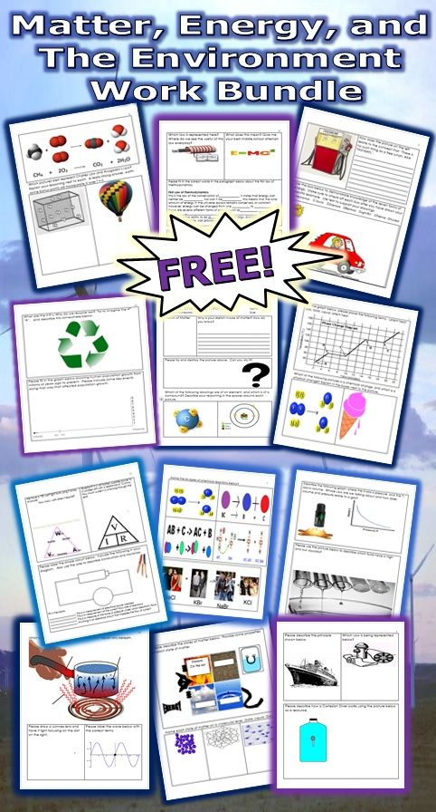 This is a FREE 18 page bundled homework or classwork package about Matter, States of Matter, Physical and Chemical Change, Gas Laws, Forms of Energy, EM Spectrum, Electricity and Magnetism, and the Environment. Answers are provided. -Enjoy! Science from Murf LLC