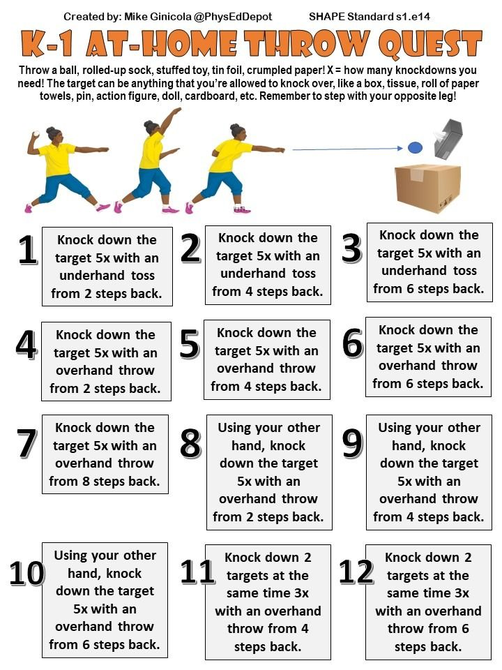 6 Skill Progressions Using Diy Home Items Bundle Distance Learning Pe Health And Physical Education Elementary Physical Education Physical Education Activities