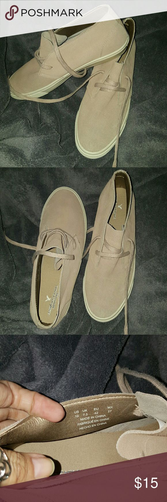 AMERICAN Eagle Outfitters Suede shoes Nude colored suede shoes . There is a pen line through the name inside the shoes they were purchased from Marshall's and came this way . They have not been worn only tried on inside . American Eagle Outfitters Shoes Sneakers