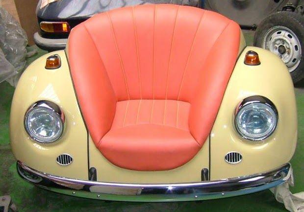 Sofás feitos com partes de carros antigos - De volta ao retrô