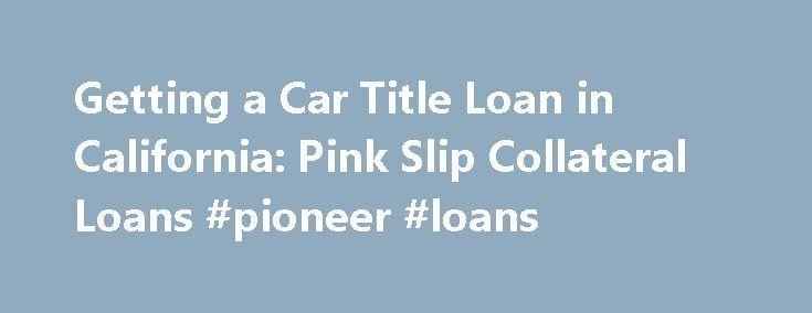 Pink Slip Car Loans