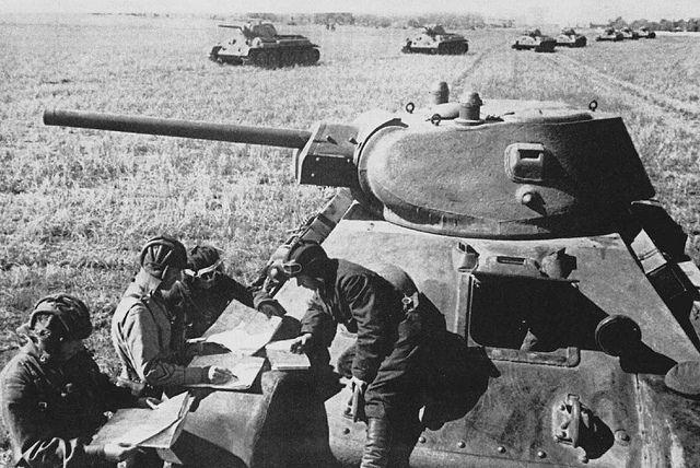 Soviet T-34 tank commanders.