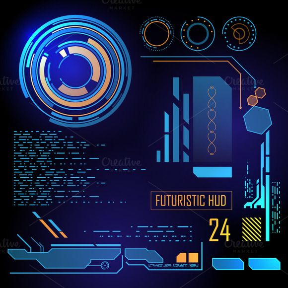 Futuristic HUD, Touch GUI Elements by BeOGraphic on Creative Market. If you like UX, design, or design thinking, check out theuxblog.com