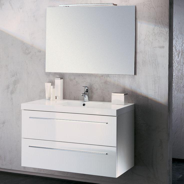 meuble salle de bain vasque laqu blanc sanijura httpwwwdeco - Meuble Salle De Bain Grande Vasque