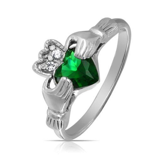 Valentines Day Gifts Bling Jewelry CZ Celtic Claddagh Green Emerald Color Heart Ring 925 Sterling Silver Bling Jewelry. $25.99. Emerald Green color glass. Celtic Claddagh Heart Ring. Weighs 2.5 Grams. Ring 9in L x 2in W. .925 Sterling Silver, Glass, Cubic Zirconia