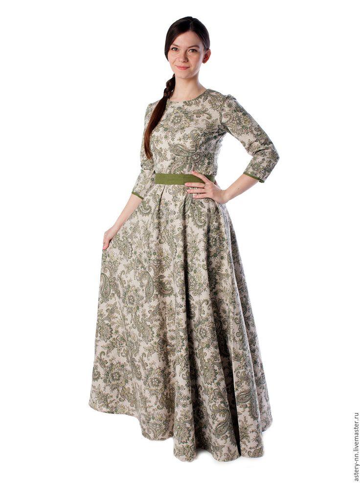 """Купить Платье """"ЛАДА"""" - зеленый, пейсли, платье, Платье нарядное, платье в пол, платье вечернее"""