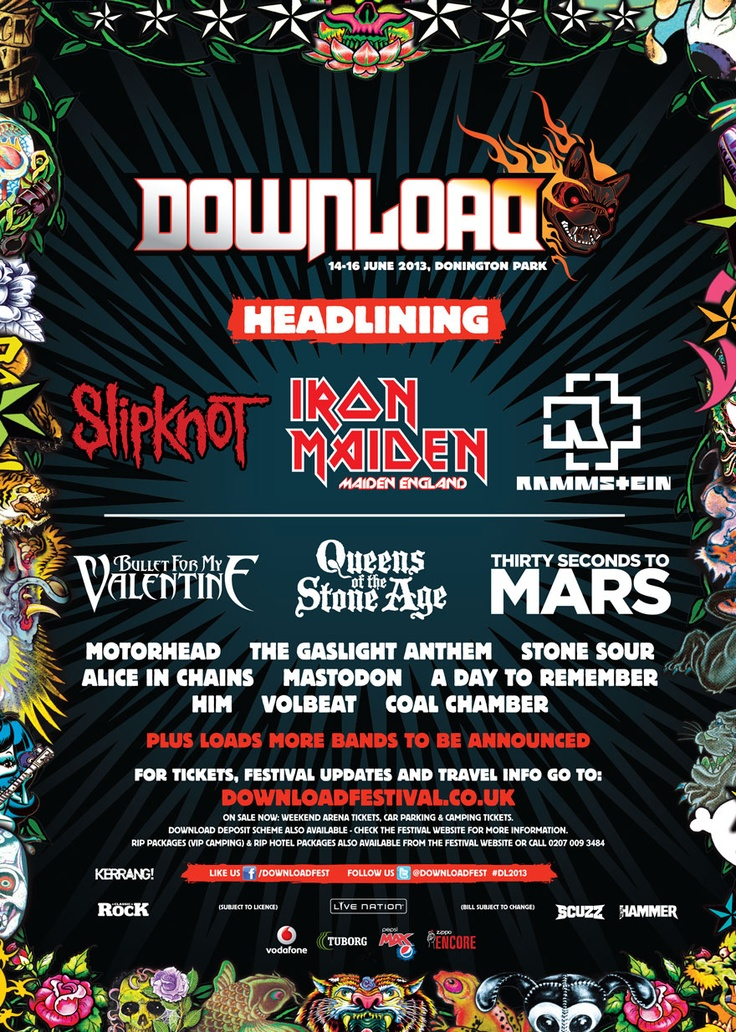 Can't Wait!!!!!!!!!!!!    Download Festival 2013 Line Up | Official Download Festival Line Up