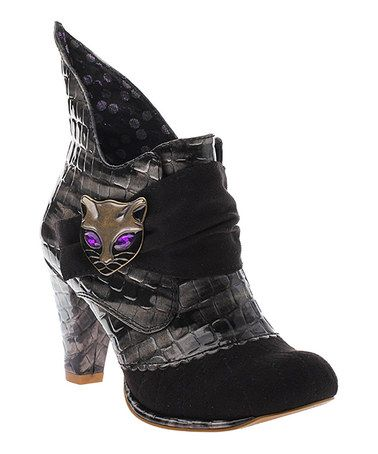 Look what I found on #zulily! Black Textured Miaow Leather Bootie by Irregular Choice #zulilyfinds