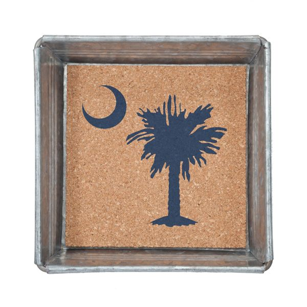 Trinket Tray with Removable Cork Insert-Palmetto Moon - Occasionally Made - Classic Gifts with a Trendy Twist!
