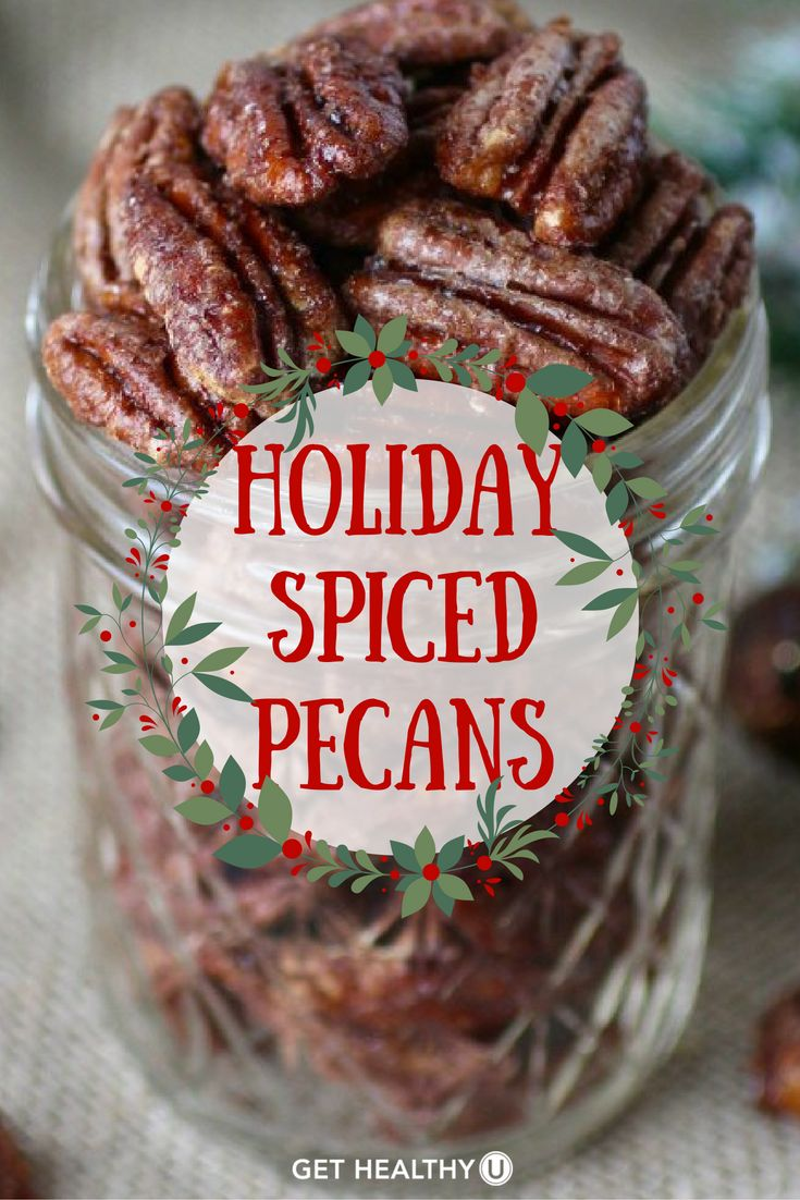 Check out this delicious, healthy recipe for Holiday Spiced Pecans! This recipe is easy to make, dairy-free, gluten-free, vegan and paleo-friendly, and made with just pecans, maple syrup and spices!