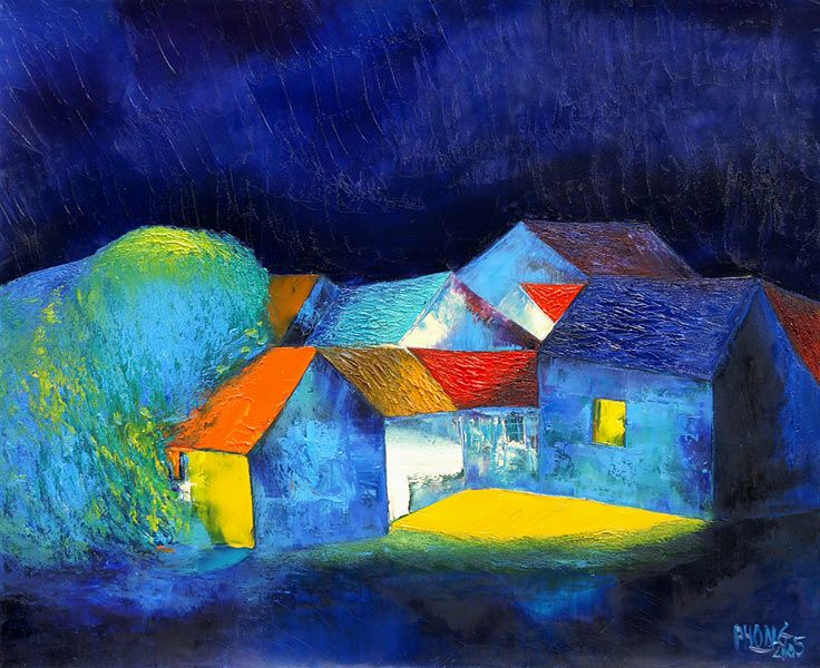 Artist: Dao Hai Phong	Title: Night Sky  Technique: Oil on canvas  Size: 65 x 80 cm