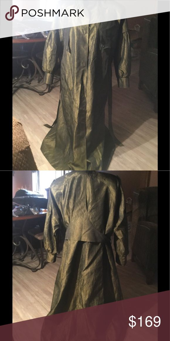 Ladies Raincoat Goldish green and very pretty.  Tie belt Jackets & Coats