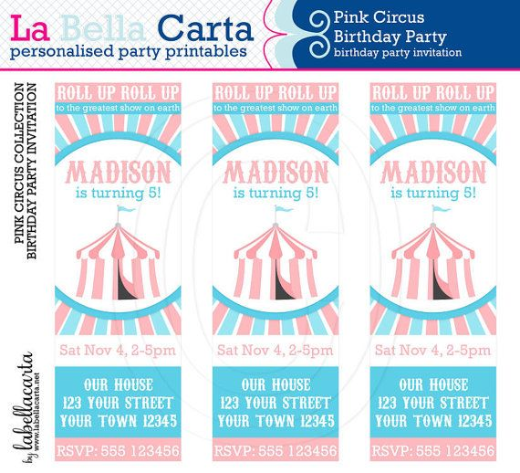 Pink Circus Personalised Invitation, Circus Birthday, Circus Party, Printable Party, DIY Party, Personalised Invite, Printable Invitation