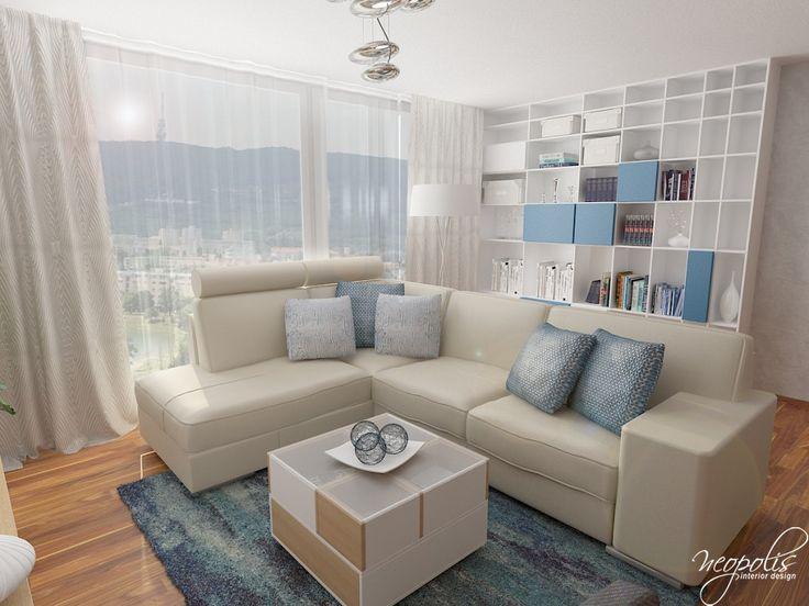 Modro-biela obývačka