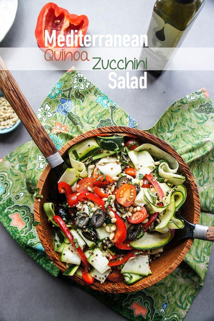 Quinoa Zucchini Ribbon Salad - refreshing side for seafood or other BBQ'd meats this summer!