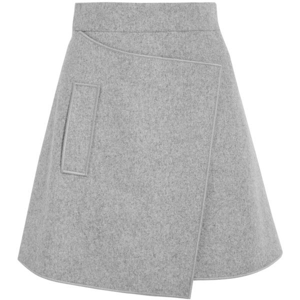 Carven Wrap-effect wool-blend felt mini skirt (3.355 ARS) ❤ liked on  Polyvore featuring skirts, mini skirts, bottoms, light gray, mini skirt, carven  skirt, ...