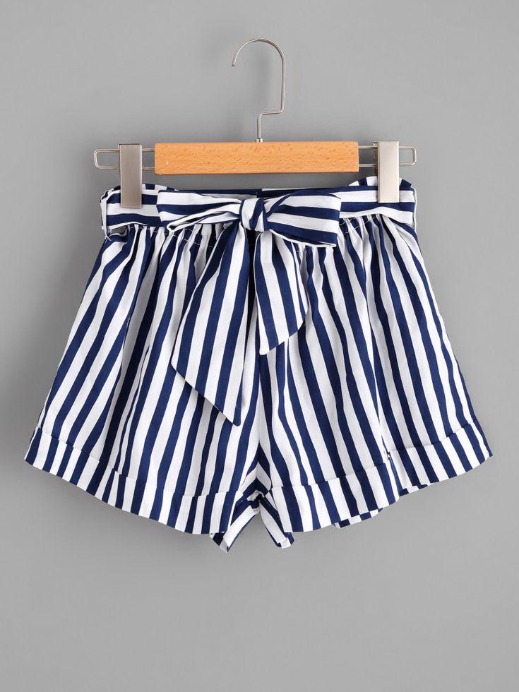 Striped Self Tie Waist ShortsFor Women-romwe