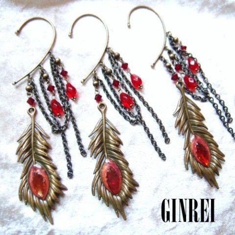 【銀玲〜ginrei〜】孔雀の羽のイヤーフック(赤)