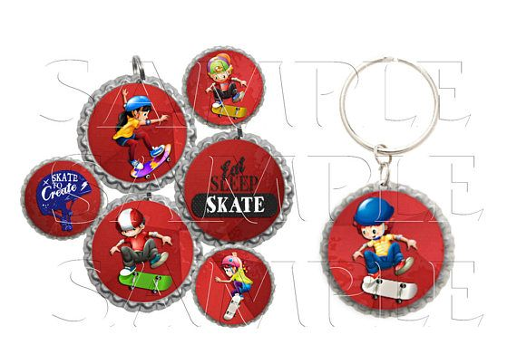 Skateboarding Bottle Cap Images Clip Art1 Inch Circles