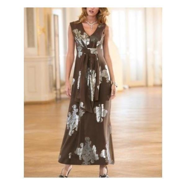Abendkleid Heine Aus 85% Seide V-Ausschnitt Bodenlang schwarz/silber Gr 34 NEU | eBay