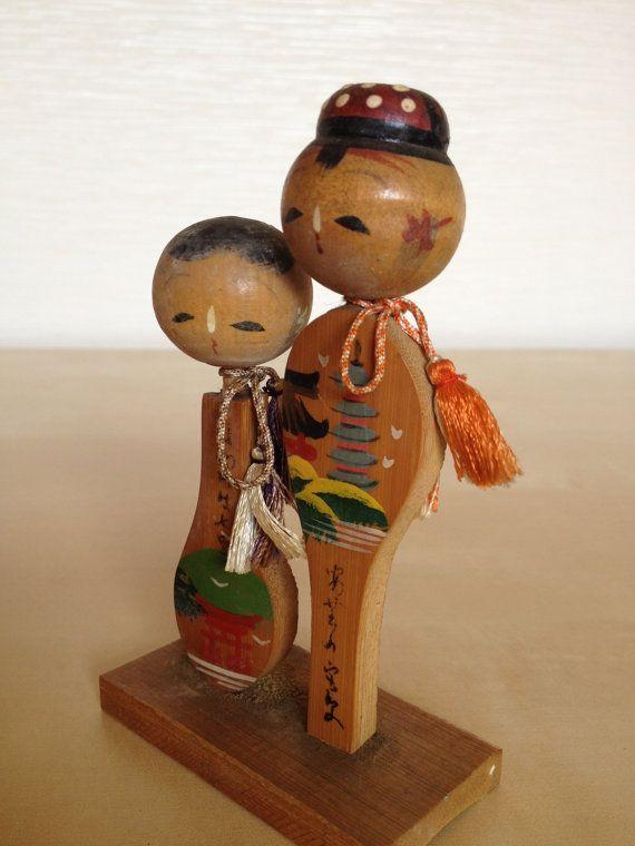 Japanese vintage wooden Hiroshima Miyajima unique kokeshi dolls