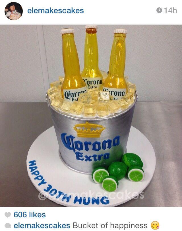 Corona beer bucket cake