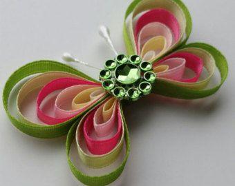 Mariposa del arco iris, niña niño mariposa Clip, pinza mariposa Linda pequeña, verde rosa amarillo lila, Satén cinta de pelo