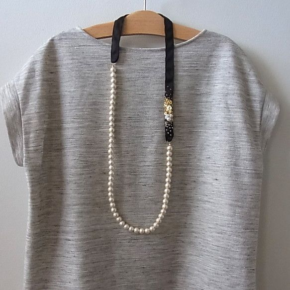 cotton pearl and beads necklace