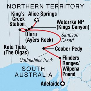 Adelaide to Alice Springs itinerary Intrepid