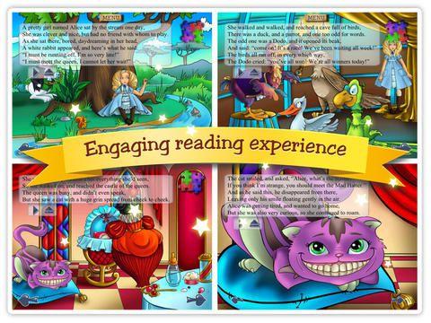 Tabtale har mange forskellige interaktive bøger. Der er rigtig mange gode, som f.eks Alice in Wonderland (denne), The Emperor's New Clothes, Noah's ark mm. Det er begynder og mellemtrin